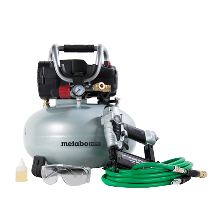 Metabo HPT Finish Combo Kit, Brad Nailer, Pancake Air Compressor, Hybrid Air Hose