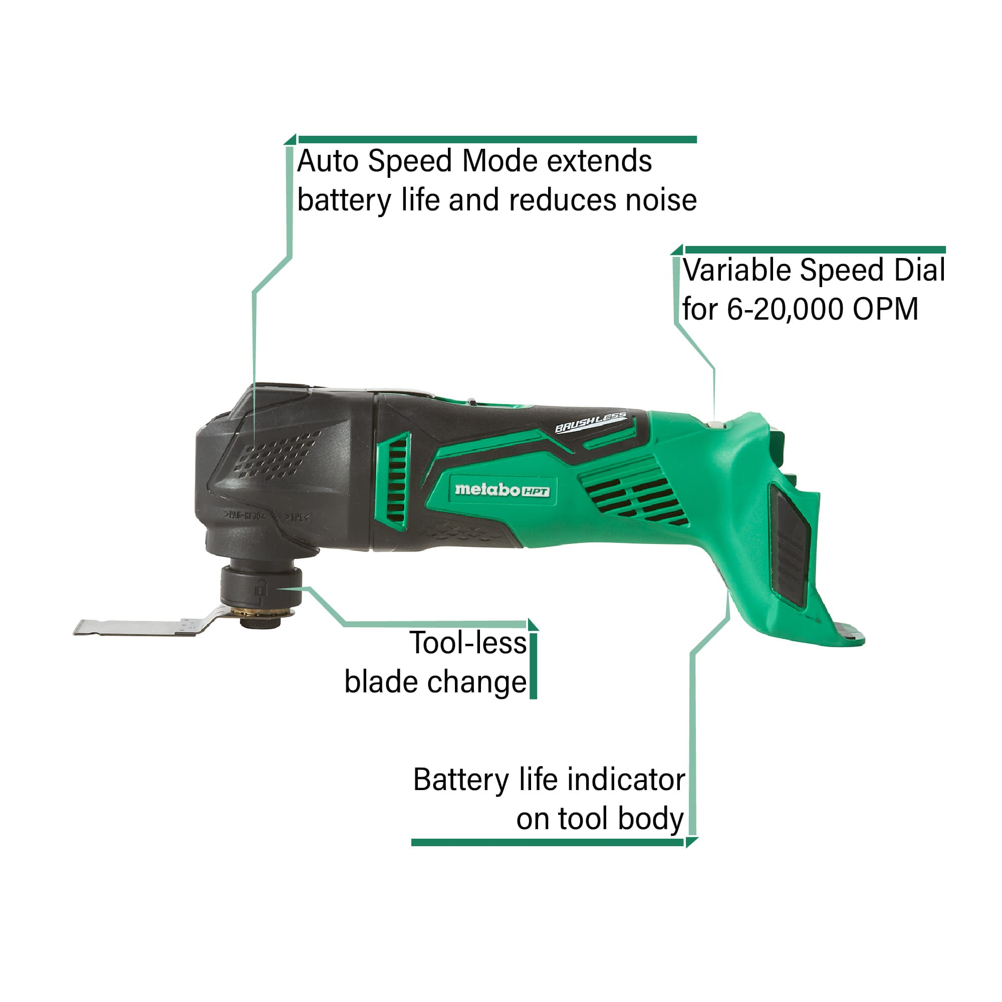Cordless oscillating tool with callouts