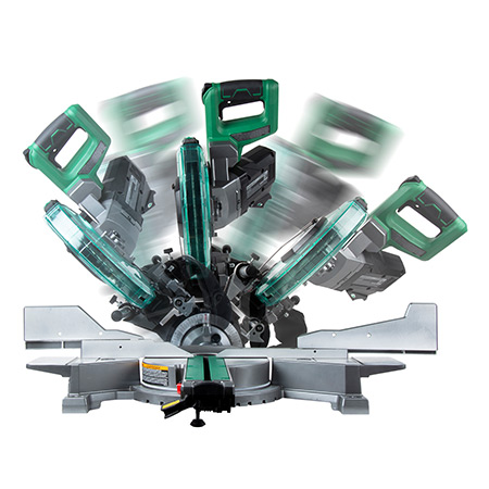 "Metabo HPT 36V MultiVolt 10"" Dual Bevel Sliding Miter Saw multi angle image"