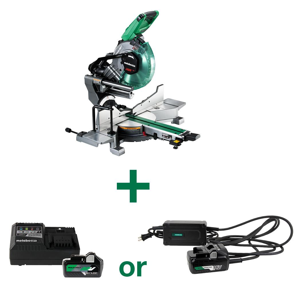 Multivolt Miter saw with 36V Battery and AC Adapter